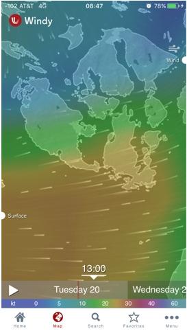 Apps y webs para predicción marítima del tiempo.